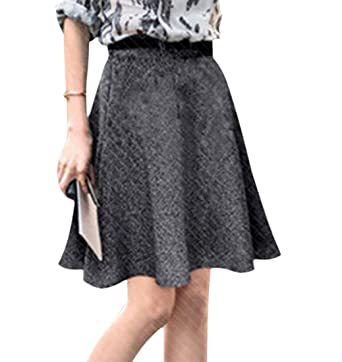 6e92eb46abf4 mydeshop Women's Skirt Casual High Waisted Wool Blend Check A-Line Skirt at  Amazon Women's Clothing store: