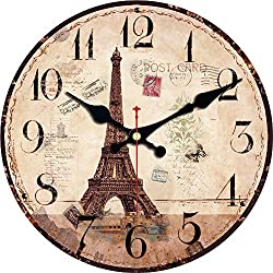 ShuaXin 16 Inch Silent Round Wall Clocks Living Room Decorative Vintage/Country / French/Eiffel Tower Style Wooden Clock (#A)