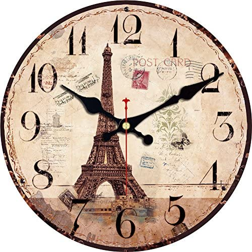 ShuaXin 16 Inch Silent Round Wall Clocks Living Room Decorative Vintage Country French Eiffel Tower Style Wooden Clock A