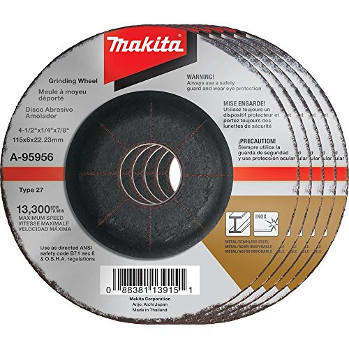 Makita A-95956-5 36 Grit INOX Grinding Wheel (Pack of 5), 4-1/2
