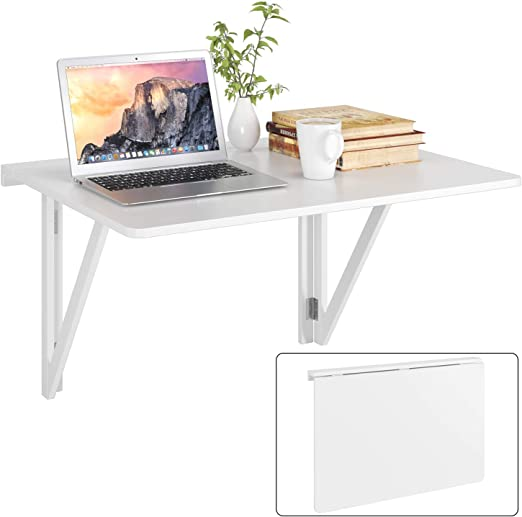 Mesa de pared plegable 80x60cm blanco con 2 soportes mesa plegable ...