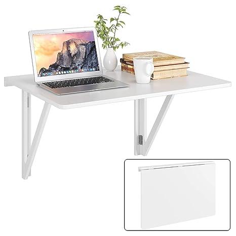 Mesa de pared plegable 80x60cm blanco con 2 soportes mesa ...