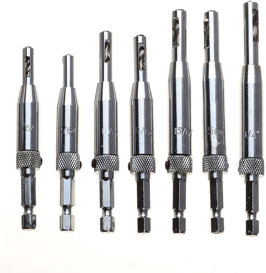 Quality High Speed Steel Bits Inside 1//4 Quick Change Hex Shank Migiwata Adjustable Self Centering Hinge Drill Bit Set of 7PCS for Drilling Pilot Hinge Holes in Door and Cabinet Woodworking