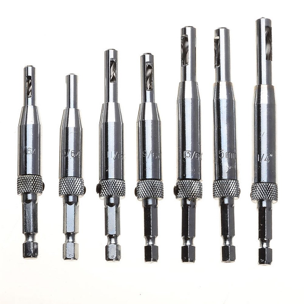 """Migiwata 7Pcs HSS Adjustable Self-centering Door and Cabinet Hinge Hole Opening Drill Bit Set with 1/4"""" for Drilling Perfect Pilot Centered Holes Hex Shank Packed in Reusable Plastic Case"""