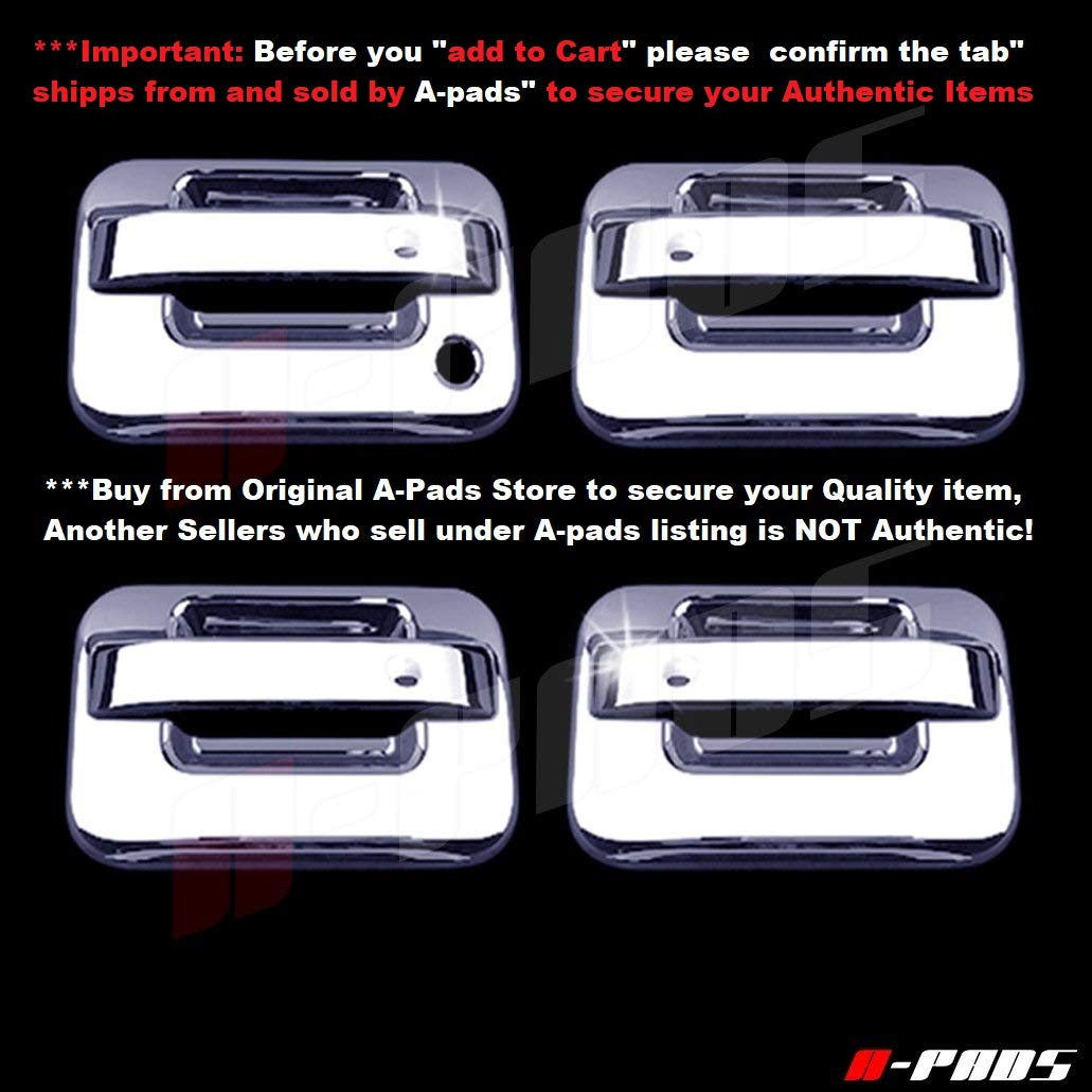 WITHOUT Passenger Keyhole /& WITHOUT Keypad A-PADS 4 Chrome Door Handle Covers for Ford F150 /& SVT Raptor 2004-2014