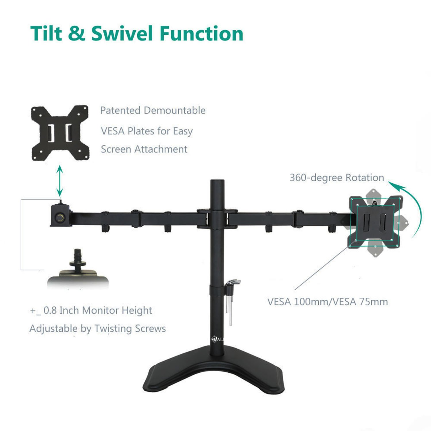 """WALI Free-Standing Dual LCD Monitor Fully Adjustable Desk Mount Fits Two Screens up to 27"""", 22 lbs. Weight Capacity per Arm (MF002), Black by WALI (Image #4)"""