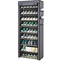 Fabric Shoes Rack Cabinet Storage Closet Organizer Non Woven 10 Tiers Ultra Wide 27 Pairs Space Grey Portable Dustproof…