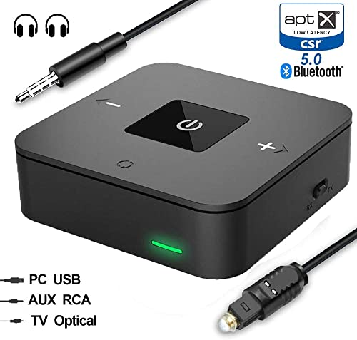 Bluetooth 5.0 Transmitter Receiver for TV, Dual Link Aptx LL Low Latency SPDIF Optical Toslink Digital RCA Aux 3.5mm Audio Wireless Transmitter Receiver for Home Car Stereo Music System