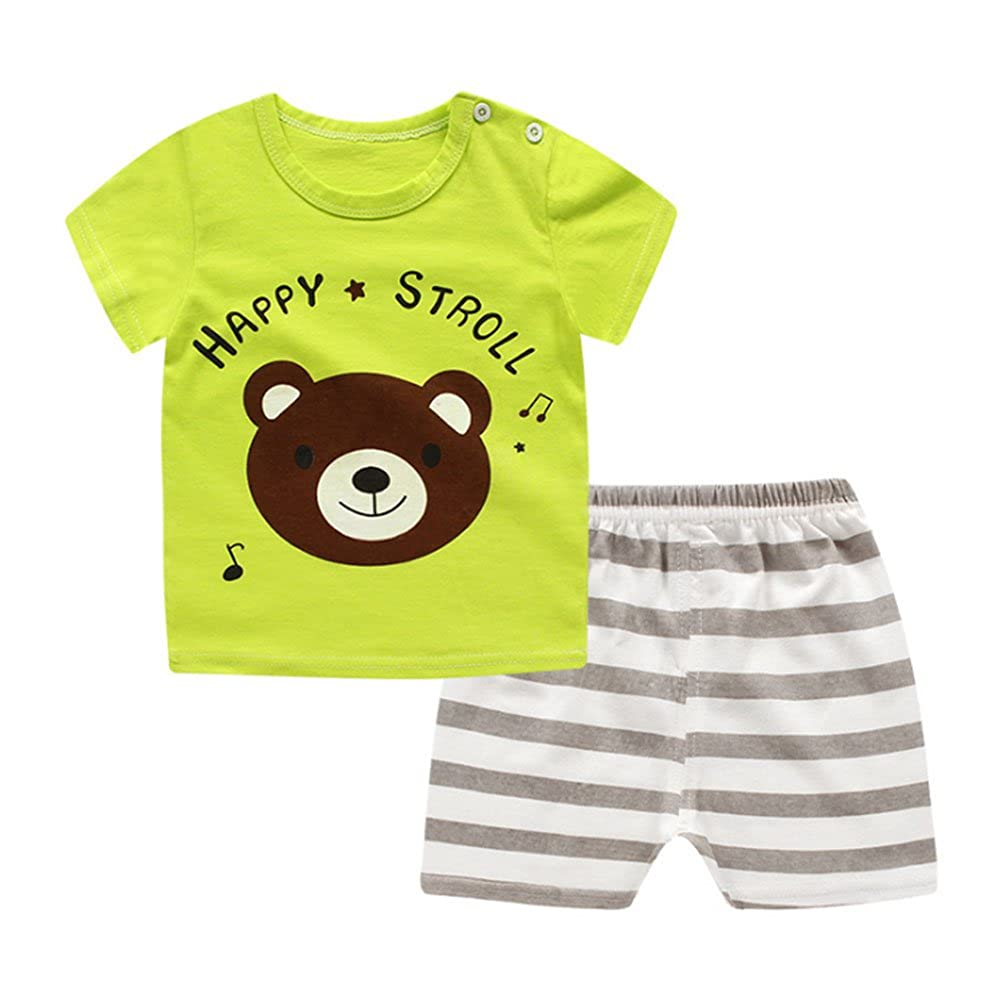 be9b00b6c8 Summer Child Set Girl Baby Boy Abbigliamento estivo Cartoon manica corta  Top + Shorts Set Elastic