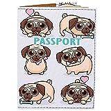 Passport Cover - Holder for Men Women Kids - Designer Vegan Leather Travel Case (Pugs Love)