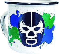 By Mexico Pocillo de Peltre modelo Máscara Luchador Verde y Azul 360 mililitros