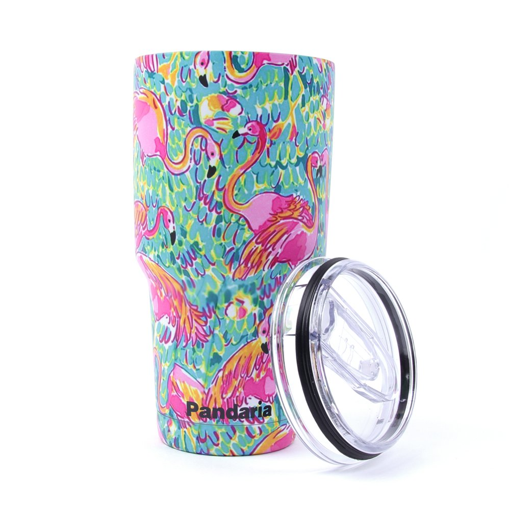 Pandaria 30 oz Stainless Steel Vacuum Insulated Tumbler with Lid - Double Wall Travel Mug Water Coffee Cup for Ice Drink & Hot Beverage, Flamingo