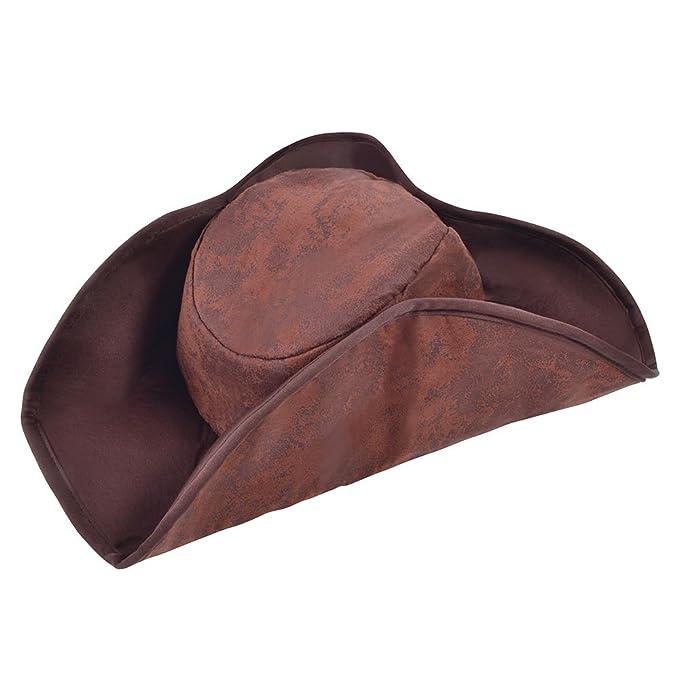 NUOVO cappello marrone effetto invecchiato Tricorn