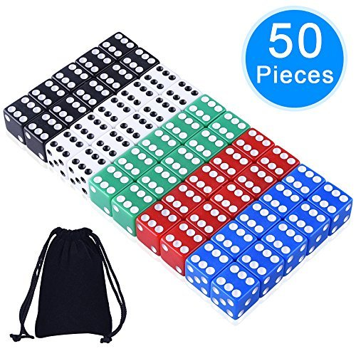 AUSTOR 50 Pieces Game Dice Set, 5 Colors Square Corner Dice with Free Storage Bag, Play Games Like Tenzi, Farkle, Yahtzee, Bunco or Teaching Math