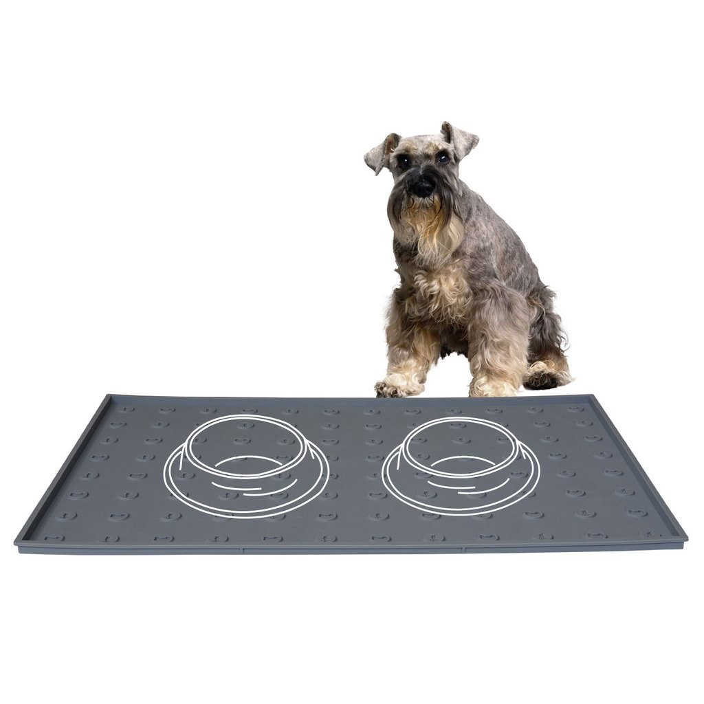 Pet Food Mat 24 x 16 inches Extra Large, Premium Silicone Food Safe Cat or Dog Feeding Mat