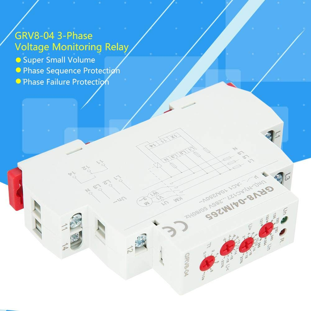 Voltage Relay,GRV8-04 3-Phase Voltage Monitoring Relay Phase Sequence Phase Failure Protection M265