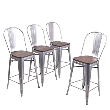 Enjoyable Andeworld Set Of 4 Tolix Style Counter Height Bar Chairs Industrial Metal Bar Stools Indoor Outdoor Stackable High Back Silver Wooden 26 Inch Gmtry Best Dining Table And Chair Ideas Images Gmtryco