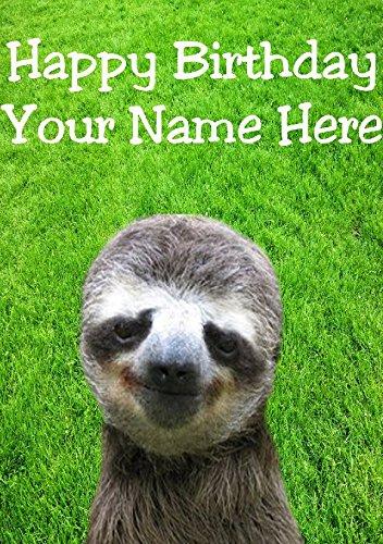 Sloth hs273 Tarjeta de felicitación personalizable de cumpleaños ...