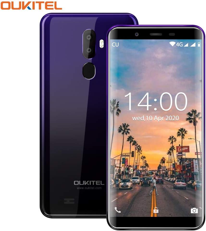 OUKITEL U25 Pro,Teléfono Moviles FHD de 5.5 Pulgadas sin Contrato 4GB RAM+64GB ROM, Moviles Dual SIM 4G, Cámaras Triples (13MP+2MP+5MP) Smartphone,Púrpura