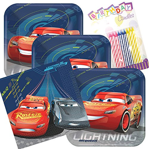 Lobyn Value Pack Disney Cars 3 Party Plates and Napkins Serves 16 With Birthday Candles