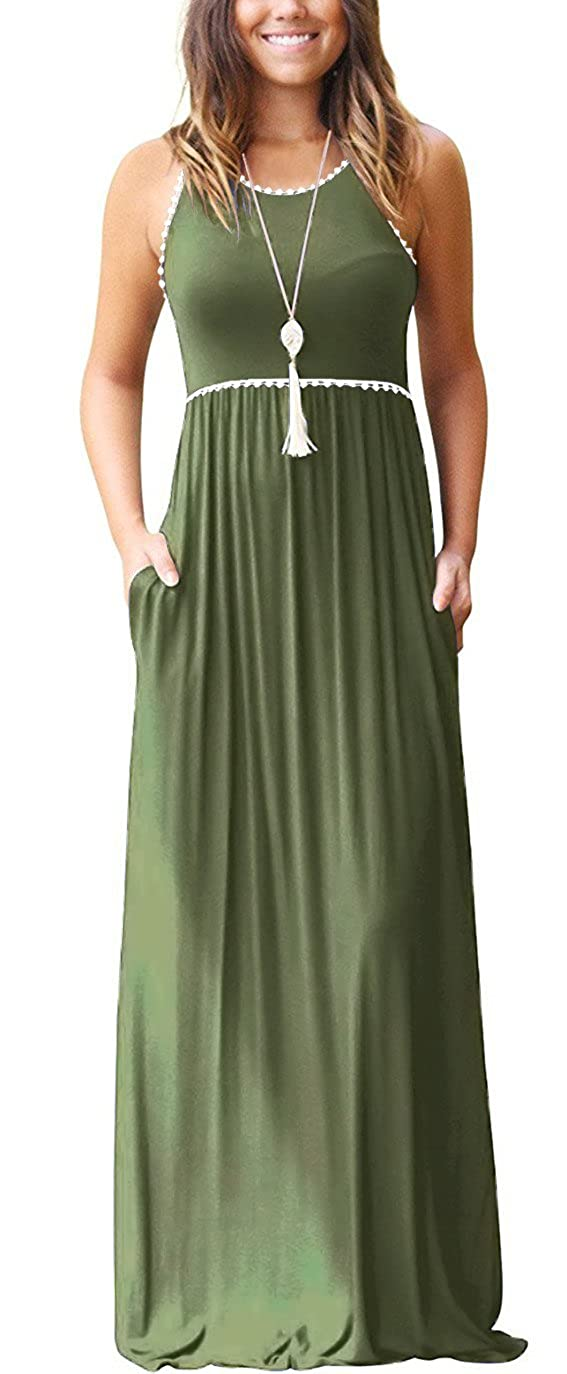 01 Army Green WEACZZY Women's Sleeveless Loose Plain Vacation Days Maxi Dresses Casual Long Dresses with Pockets