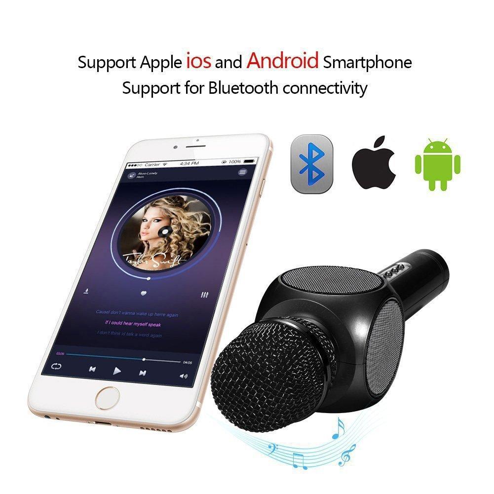 GRULLIN Bluetooth inal/ámbrico Karaoke Micr/ófono NEGRO PINK