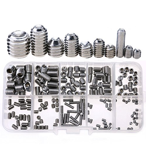 Glarks 200-Piece M3 4 5 6 8 Hex Allen Head Socket Set Screw Assortment Kit (304 Stainless Steel)