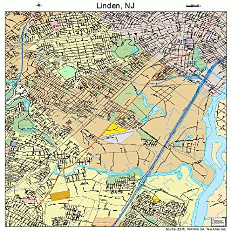 Amazon.com: Large Street & Road Map of Linden, New Jersey NJ ...