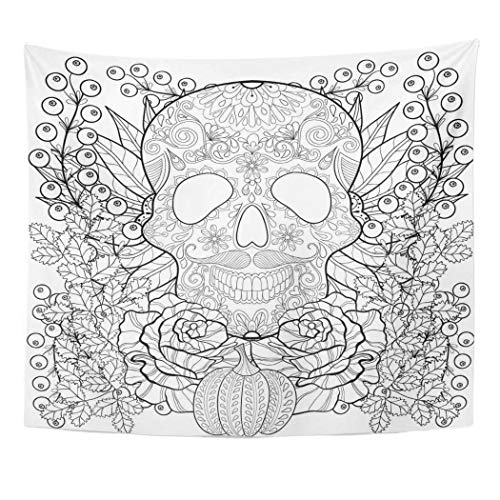 Emvency Wall Tapestry Zentangle Skull with Pumpkin Rose Sunflower for Halloween Freehand Sketch for Adult Coloring Page with Autumn Doodle Decor Wall Hanging Picnic Bedsheet Blanket 60x50 Inches -