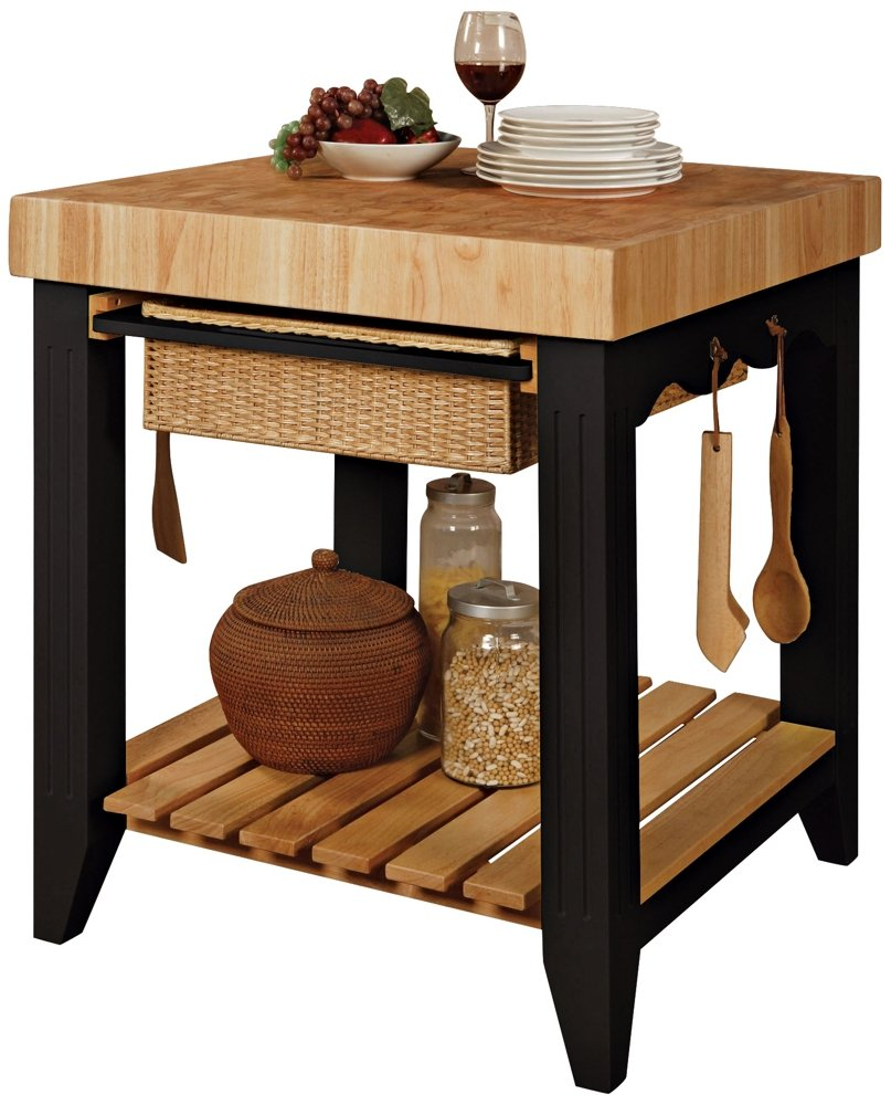 Amazon.com: Powell Color Story Black Butcher Block Kitchen Island: Kitchen  U0026 Dining