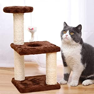 OKBOP Cat Tree Tall Tower Stand Condo House, Kitten Play Climber Holder with Scratching Post, 2-Tier Jump Platform Pet Activity Center with Hanging Mouse Toy (Coffee)