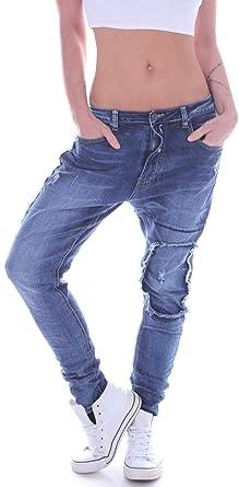 Style Station Damen Boyfriend Jeans Boyfriendcut Hose Baggy Haremshose Chino Blau mit Reißverschluss