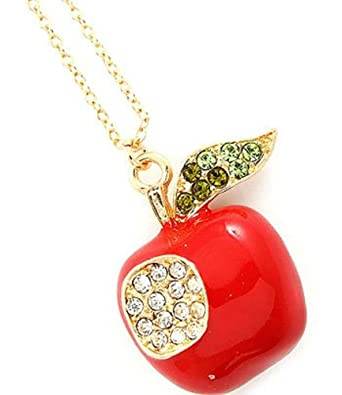 Apple necklace pretty red apple necklace red diamante apple necklace pretty red apple necklace red diamante crystal apple pendant necklace mozeypictures Image collections