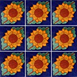 "Color y Tradicion 9 Mexican Tiles 4"" x 4"" Hand Painted Talavera C045"