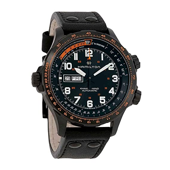 Hamilton Reloj de hombre automático 45mm correa de cuero color negro H77785733