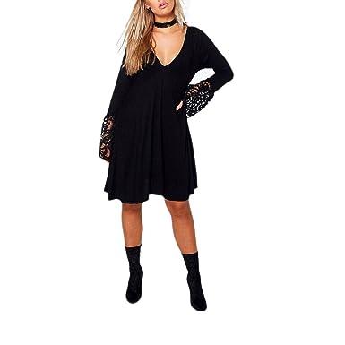 Ladies Plunge Lace Women Skater Dress PLUS SIZE Black Top Evening wear16-24  (16 fe9c4e6b3