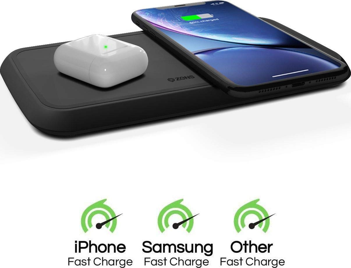 ZENS Wireless Charging Pad | Dual Qi Charger Pad with 2X 15 Watt Power Output | Compatible with Apple iPhone 8/8 Plus/X/XR/Xs Max, Samsung Galaxy S10 and Airpods 2 | Includes AC/DC Adapter | Black by ZENS (Image #1)