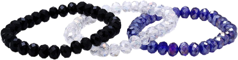 Morella Set de Pulseras para Mujeres de 3 Pulseras con Perlas Beads y Charms