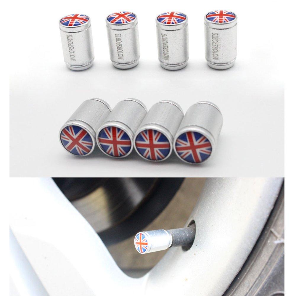 4Pcs//Lot- Silver Dsycar Stylish UK Flag Valve Caps Bike Motorcycle Car Tires Wheel Valve Stem Dust Caps for Car styling Decoration