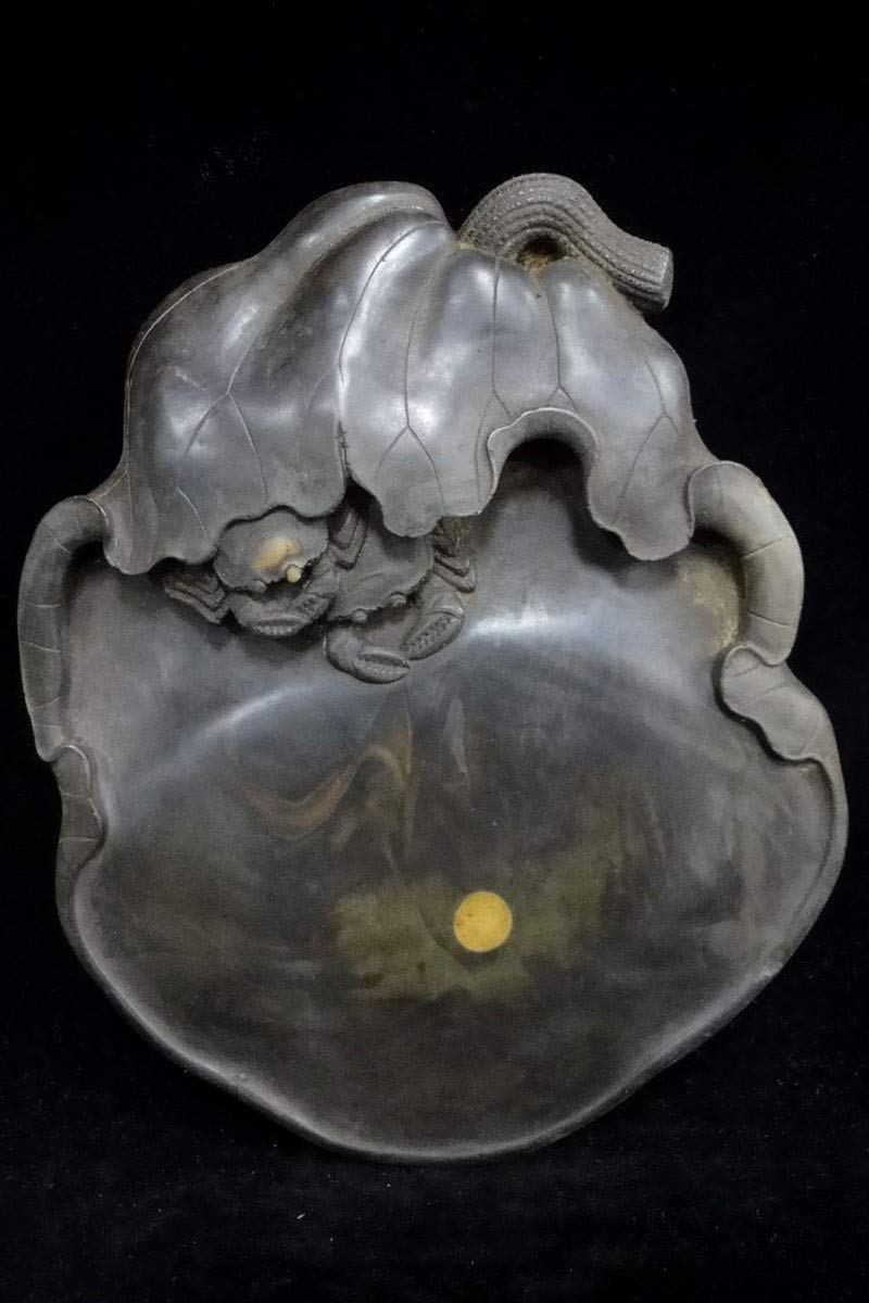 Rare Old Chinese Hand Carving Lotus Crabs Ink Stone Ink Slab Marks Quality Ink Stone