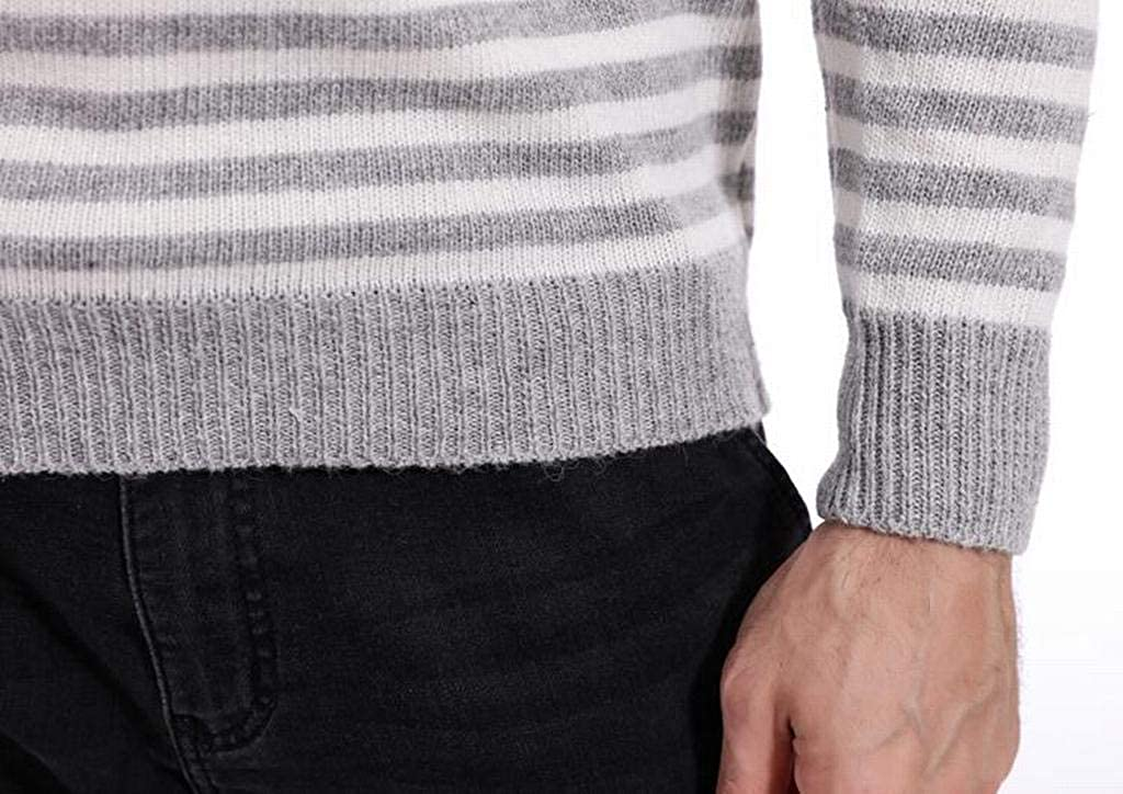 Heless Mens Round Neck Color Block Stripe Print Knit Pullover Sweaters Jumper