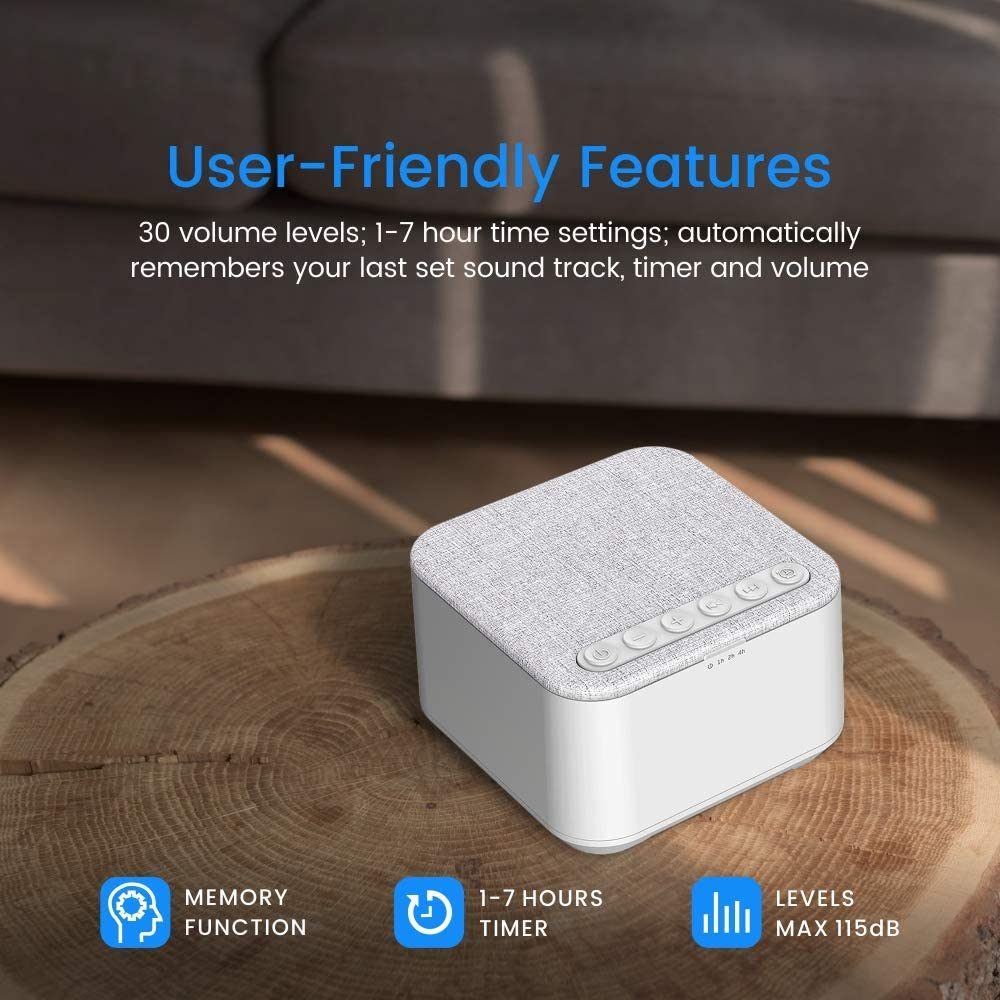 X-Sense White Noise Machine Office White High Quality Speaker with 30 Levels of Volume and 7 Timer Settings for Home Sleep Sound Machine with 40 Non-Looping Soothing Sounds and Memory Function