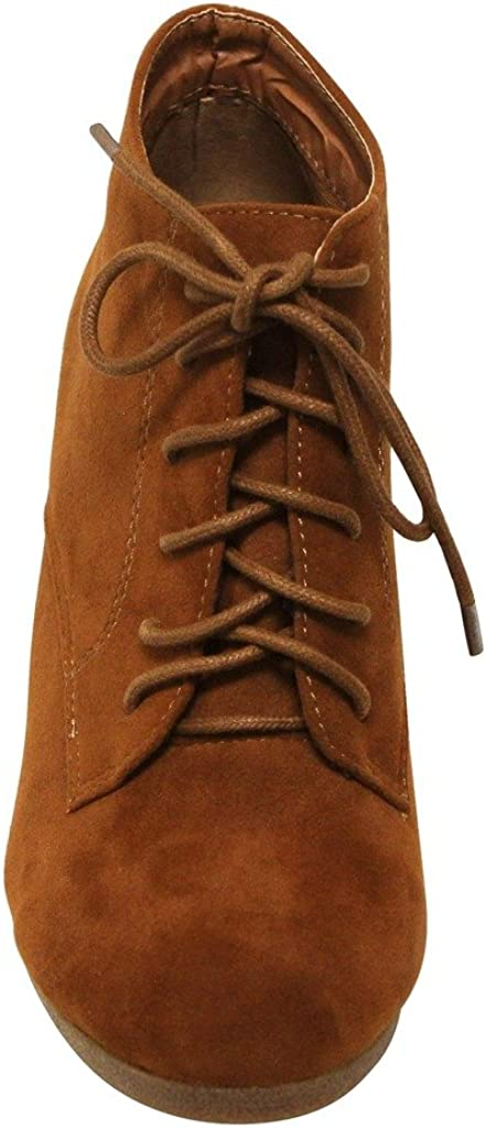 Bella Marie Brenda-11 Womens High Top Lace Up Rounded Toe Platform Wedge Suede Booties