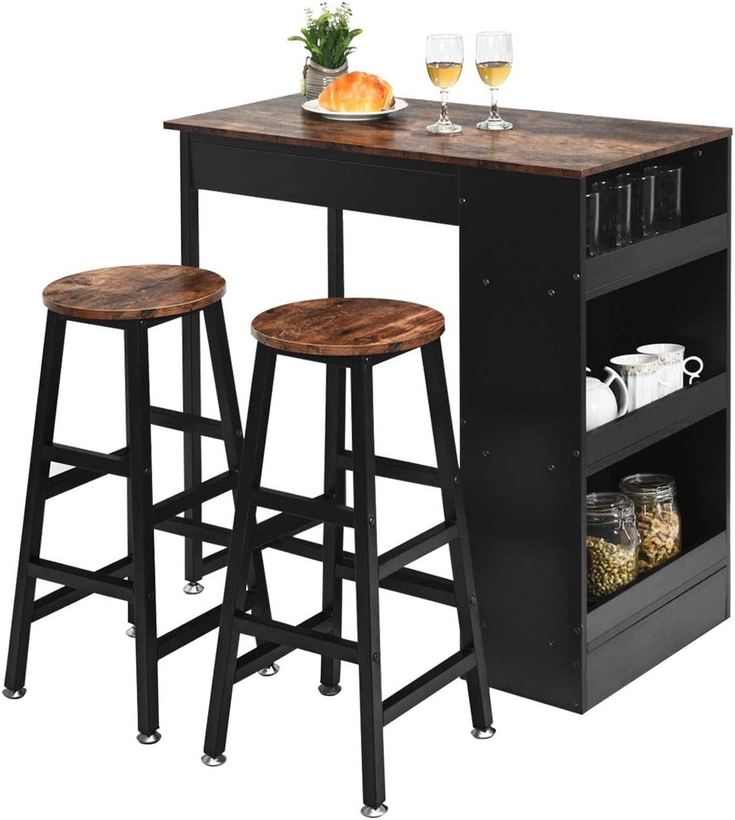 Giantex 3 Piece Pub Dining Set Wooden Counter Height Table Set With 2 Bar Stools Industrial Bar Table Set Sturdy Kitchen Table With Storage For Kitchen Restaurant Living Room Brown Amazon Co Uk Kitchen