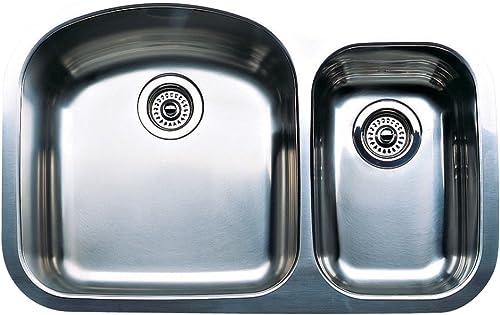 Blanco 440167 Wave Plus 1-1 2 Bowl Undermount Kitchen Sink, Satin Polished Finish