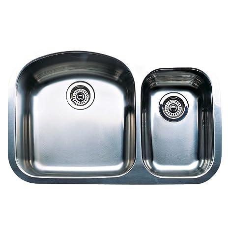 Blanco 440167 Wave Plus 1-1/2 Bowl Undermount Kitchen Sink, Satin Polished  Finish