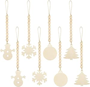 8 Pieces Christmas Tree Wood Bead Hanging Decor Xmas Wooden Bead Garlands Ornaments Rustic Farmhouse Beads Pendants for Party Decor