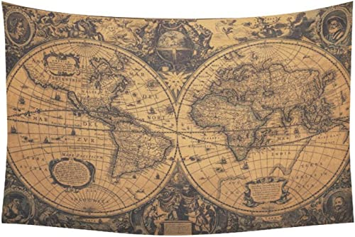 Wall Tapestry D-Story Custom Vintage World Map Cotton Linen Tapestry Wall Hanging 40x 60