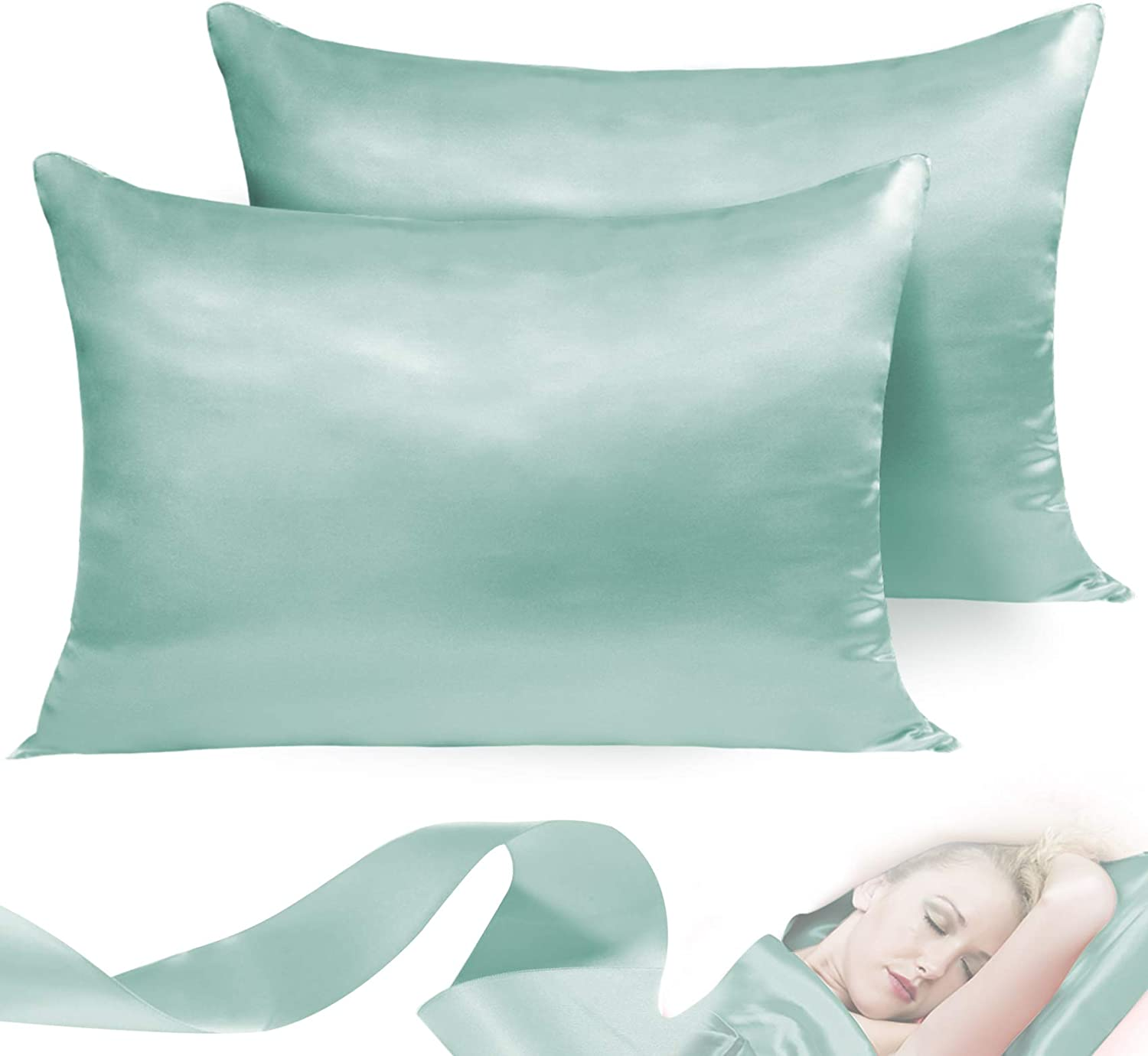 Leccod 2 Pack Silky Satin Pillowcase for Hair and Skin Cool Super Soft and Luxury Pillow Cases Covers with Envelope Closure (Spa Green, Standard: 20x26)