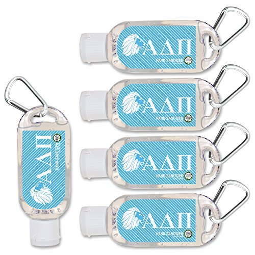 (Alpha Delta Pi Hand Sanitizer with Clip 5-Pack. Moisturizers Aloe Vera and Vitamin E. (1.5 oz Containers) Greek Sorority Gifts, Personal Care Items for Women, Stocking Stuffers)